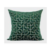 Quality Forest Green Decorative Throw Pillows Geometric Embroidered 100% Velvet for sale