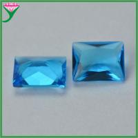 Wuzhou Wholesale Sapphire Blue Aquamarine Rectangle Crystal Glass Gemstone for sale