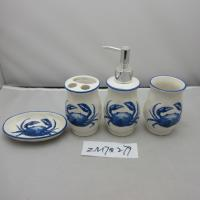 Quality Blue And White Porcelain Bathroom Set With Crab Design In Traditional Chinese Style for sale