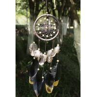 Quality Wind Chimes Indian Style Feather Leather Gold Dream Catcher for Home Decor Hanging Decoration Nice Gift for sale