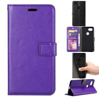 Google Pixel2 Crazy Horse Cell Phone Leather Wallet Case Three Card Slot Tpu