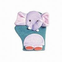 Quality Animal Bath Gloves for Kids, Made of Terry and Sponge for sale