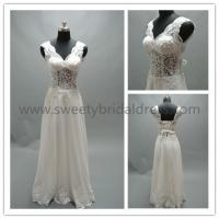 Buy cheap Sheath/Column V-Neck Beading Lace Appliques Chiffon Wedding Dress #LT2120A from wholesalers