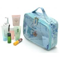 Quality Double Pullers Transparent Makeup Bag , Small Cosmetic Bags Handmade By Sewing for sale