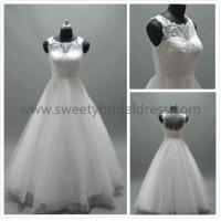 Quality Aline Bateau Beading Hide Zipper Lace and Tulle Wedding Dress #AS1319Aa for sale
