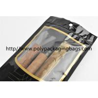 China Customized Cigar Packaging Bag For Moisturizing , Black Cigar Ziplock Bags on sale