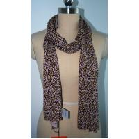 Quality Fashion Ladies Scarf , Leopard Print Silk Scarf Soft Hand Feeling for sale