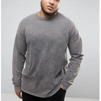 Quality Acid Washed Men'S Oversized Long Sleeve T Shirt , Cool Plus Size T Shirts for sale