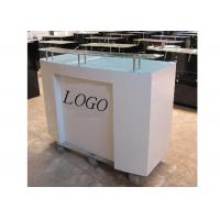 Quality HDF Baking Glossy White Retail Checkout Counter Floor Standing With Printed Logo for sale