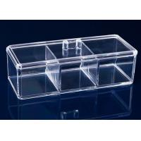 Buy 3 Compartments Acrylic Makeup Display Stand Clear Plastic Swab Box With Lid Handle at wholesale prices