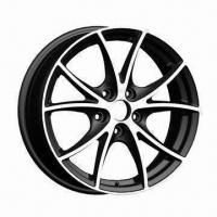 Quality Alloy Car Wheel Rim of Aftermarket, with Black Full Polish, Measures 14/15x5.5/16x6 Inches for sale