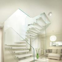 Buy cheap wooden staircase,floating staircase kit with frameless glass railing from wholesalers