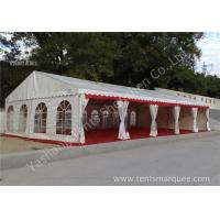 Quality Out side White PVC Cover Aluminum Frame Clear Span Tent with Red Carpet for sale