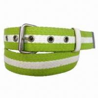 Design Striped Cotton Webbing Belt with Eyelets for sale
