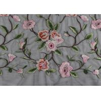 Gray Polyester Flower 3D Embroidered Lace Fabric By The Yard For Lady Dress