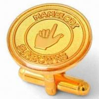 Quality Epoxy Covered Mamelodi Sundowns Cufflinks with Metal Emblem in 1.5mm Copper and Logo Stamped for sale
