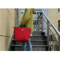 China Solid Color Ladies Canvas Bags , Womens Canvas HandbagsWith Stripe Handle for sale