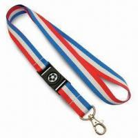 Quality 2cm-wide Flag Style Lanyards in 3-Tone Colors, Made of Polyester, with Nickel-plated Metal Snap Hook for sale