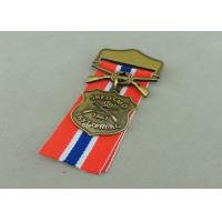Quality Zinc Alloy Military Awards Medals , 3D Die Casting Short Ribbon Medallions for sale