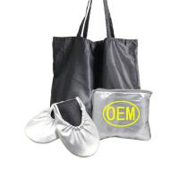 Quality Wedding Club Silver Dancing Shoes for Women Foldable Ballet with Expandable Tote Bag OEM Factory for sale