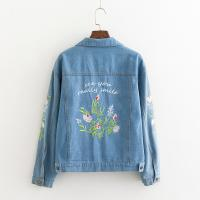 Quality New Design Lapel Long Sleeve Denim Jacket With Embroidered Flowers Eco Friendly for sale