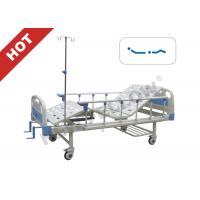 China Popular Powder - coated Steel Manual adjustable hospital bed With Guardrail on sale