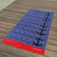 Quality Cabana Blue And Red Striped Towel , Black Anchor Beach Towel 15 Colours for sale