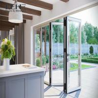 Quality Outdoor Accordion Powder Coated Aluminium Bifold Doors Clear Tempered Glass for sale