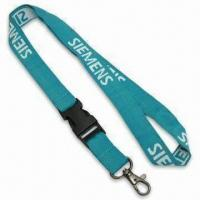 Quality Lanyard with Black Plastic Detachable Buckle and One Color Logo Woven into Strap, Made of Polyester for sale