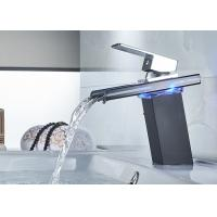 China Glass Waterfall LED ROVATE Bathroom Sink Faucet Temperature Sensor Color Changing on sale