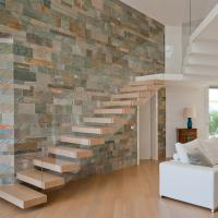 Buy cheap floating stairs with wooden tread and frameless glass railings from wholesalers
