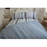 Buy cheap vertical stripe  grey&white polycotton or full cotton duvet cover sets from wholesalers