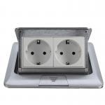 Quality popular silver EU plug Pop Up double Floor Socket /power outlet for sale