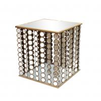 Quality Squre end table with small mirror decorations for Dinning room metal framed for sale