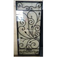 Quality interior doors wrought iron glass with 8*8mm black steel bar for sale