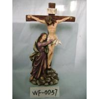 Quality Religious Polyresin Figurine Matte Finish With Jesus On Cross 12 Inches for sale