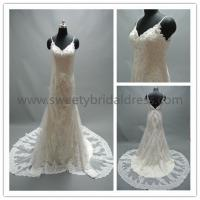 Quality Mermaid & Trumpet V-Neck Spaghetti Straps Beading Lace Wedding Dress #AS3590 for sale