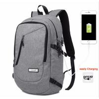 Quality Unisex Daily Use College Student Backpack Light Weight Cotton Fabric In Black / Grey for sale