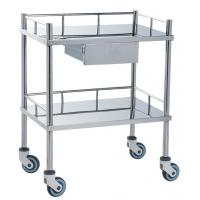 Buy Movable Medical Clinical Trolley Stainless Steel With Two Shelves And One Drawer at wholesale prices