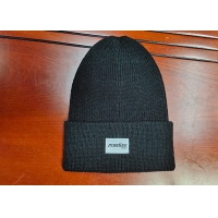 Quality warm black wool or cotton customize woven label inner tape printing knitted boonies hats for winter for sale