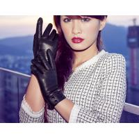 China Button Belt  Cuff Fashion Style Sheep Lambskin Leather Gloves for Women / Ladies S - XL on sale