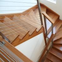 Quality 2018 high quality stainless steel square post cable railing with wood handrail price for sale
