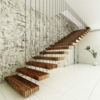 Buy cheap Red Oak Wood Tread Stairs Floating Cantilevered Staircase from wholesalers