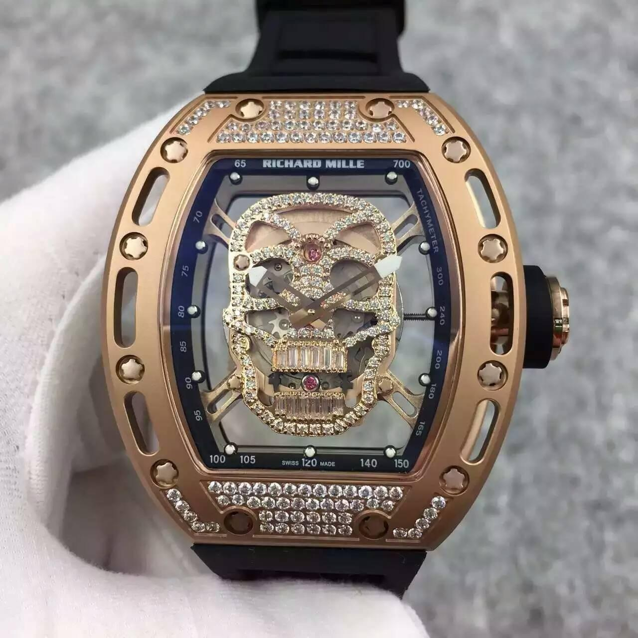 Quality Richard Mille RM052 Skeleton Ghost head Automatic Rose Gold Watch Diamonds Bezel and case for sale