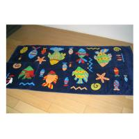 Quality 100% Cotton Drawstring Towel Bag Velour Reactive Printing With Overlocking / Serging Edge for sale