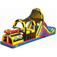 Quality Race Car Rush Line Inflatable Obstacle Courses Combo With Climbing And Slide for sale