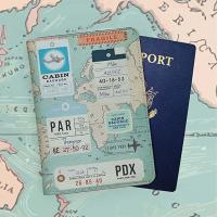 Quality World Map Travel Card Holder Stitching Technics With Artificial Leather Cover for sale