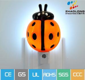 Cartoon Ladybird Automatic LED Sensor Energy Saving Wall Night Lamp For Dark Corner