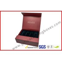 China Creative red color magnet gift packaging box with gold foil , EVA foam with black velet on sale