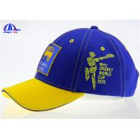 Quality Cotton 6 Panel Blue and Yellow Baseball Sandwich Caps With Flat Embroidery Sri Lanka Logo for sale